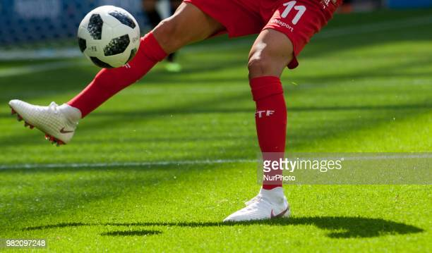 Dylan Bronn of Tunisia during the FIFA World Cup Group G match between Belgium and Tunisia at Spartak Stadium on June 23 2018 in Moscow Russia