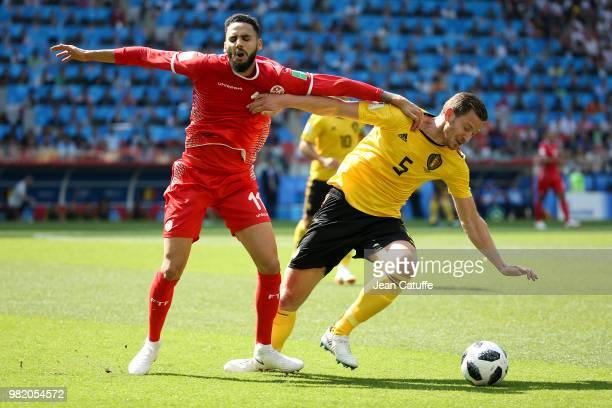 Dylan Bronn of Tunisia Jan Vertonghen of Belgium during the 2018 FIFA World Cup Russia group G match between Belgium and Tunisia at Spartak Stadium...
