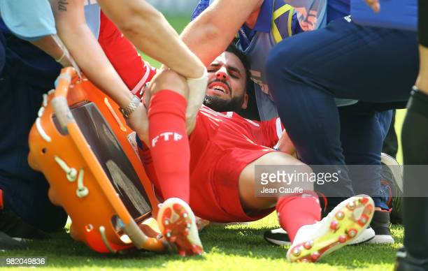 Dylan Bronn of Tunisia leaves the pitch on a stretcher with an injury during the 2018 FIFA World Cup Russia group G match between Belgium and Tunisia...
