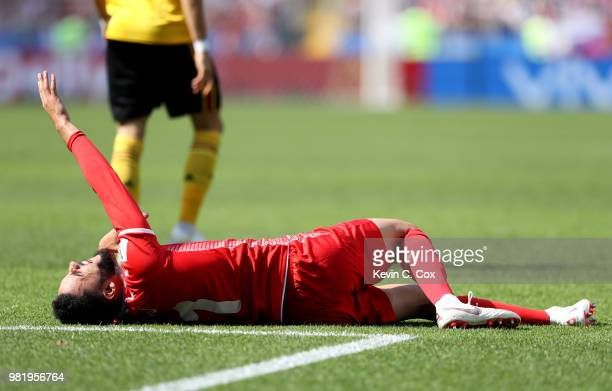 Dylan Bronn of Tunisia lies oin the pitch injured during the 2018 FIFA World Cup Russia group G match between Belgium and Tunisia at Spartak Stadium...