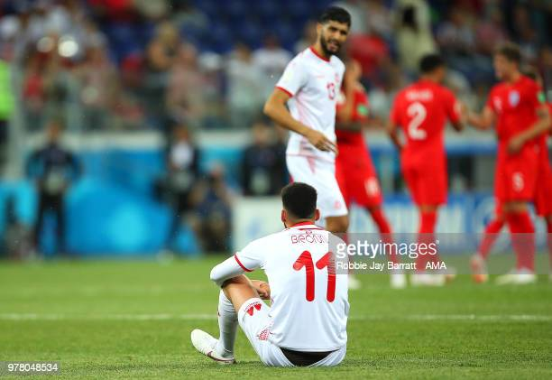 Dylan Bronn of Tunisia looks dejected at the end of the 2018 FIFA World Cup Russia group G match between Tunisia and England at Volgograd Arena on...