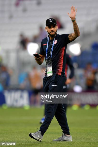 Dylan Bronn of Tunisia looks on during a pitch inspection prior to the 2018 FIFA World Cup Russia group G match between Tunisia and England at...