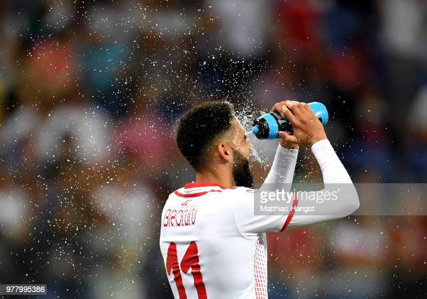 Dylan Bronn of Tunisia refreshes during the 2018 FIFA World Cup Russia group G match between Tunisia and England at Volgograd Arena on June 18 2018...