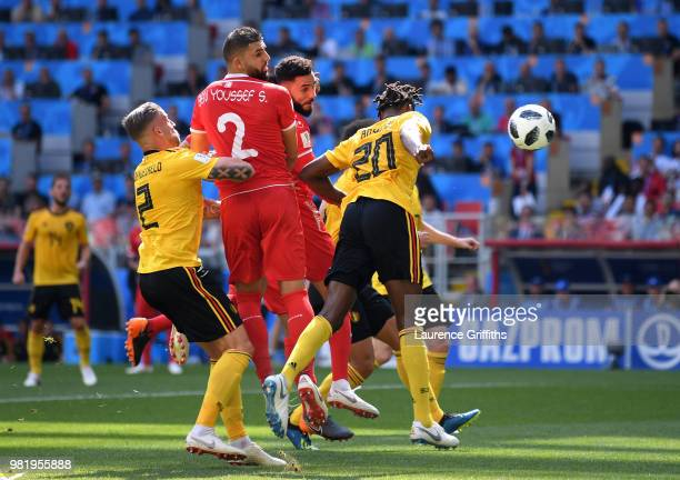 Dylan Bronn of Tunisia scores his team's first goal during the 2018 FIFA World Cup Russia group G match between Belgium and Tunisia at Spartak...