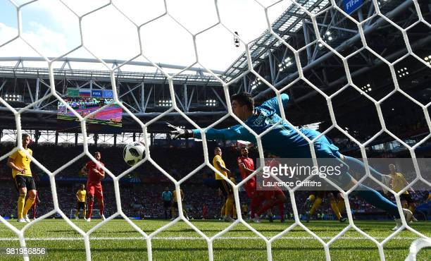 Dylan Bronn of Tunisia scores his team's first goal past Thibaut Courtois of Belgium during the 2018 FIFA World Cup Russia group G match between...