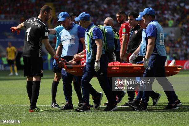 Dylan Bronn of Tunisias is carried off the pitch on a stretcher before being substituted during the 2018 FIFA World Cup Russia group G match between...