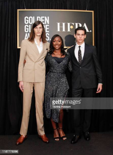 Dylan Brosnan Isan Elba and Paris Brosnan attend the HFPA and THR Golden Globe Ambassador Press Conference at Catch LA on November 14 2019 in West...