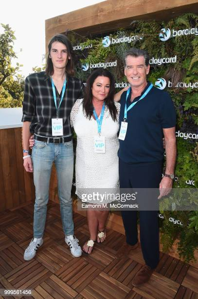 Dylan Brosnan Keely Shaye Smith and Pierce Brosnan attend as Barclaycard present British Summer Time Hyde Park at Hyde Park on July 15 2018 in London...
