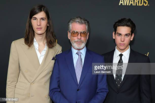 Dylan Brosnan Pierce Brosnan and Paris Brosnan attend HFPA And THR Golden Globe Ambassador Party at Catch LA on November 14 2019 in West Hollywood...