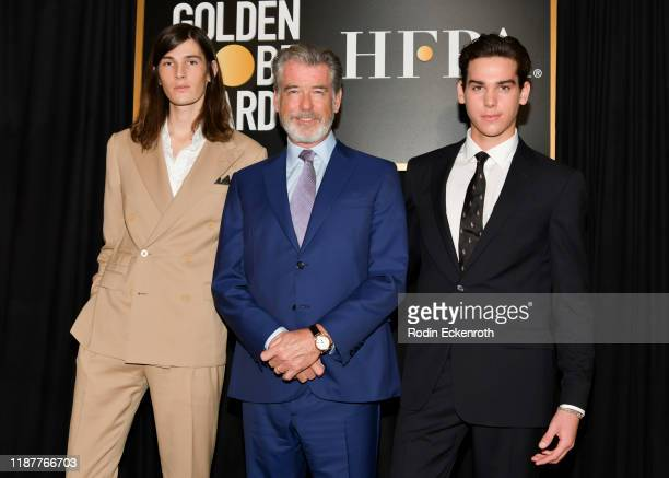 Dylan Brosnan Pierce Brosnan and Paris Brosnan attend the HFPA and THR Golden Globe Ambassador Party at Catch LA on November 14 2019 in West...