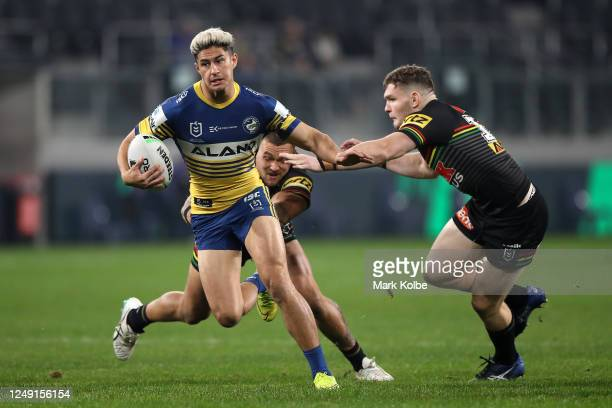 Dylan Brown of the Eels is tackled during the round five NRL match between the Parramatta Eels and the Penrith Panthers at Bankwest Stadium on June...