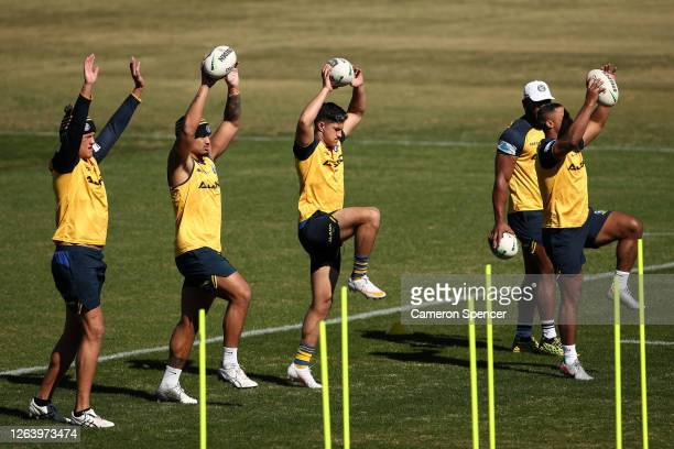Dylan Brown of the Eels performs drills during a Parramatta Eels NRL training session at Kellyville Park on August 05 2020 in Sydney Australia
