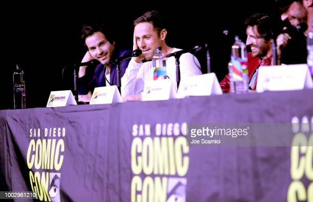 Dylan Bruce and Eoin Macken attend Entertainment Weekly Brave Warriors panel during San Diego ComicCon 2018 at the San Diego Convention Center on...