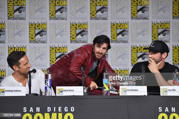 Dylan Bruce Eoin Macken and Tom Ellis speak onstage at Entertainment Weekly's Brave Warriors Panel during ComicCon International 2018 at San Diego...