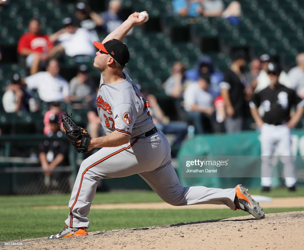 Dylan Bundy #37 of the Baltimore Orioles pitches in the 9th inning for a complete game win against the Chicago White Sox at Guaranteed Rate Field on May 24, 2018 in Chicago, Illinois. The Orioles defeated the White Sox 9-3.
