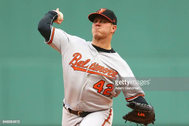 Dylan Bundy of the Baltimore Orioles pitches in the first inning of a game against the Boston Red Sox at Fenway Park on April 15 2018 in Boston...