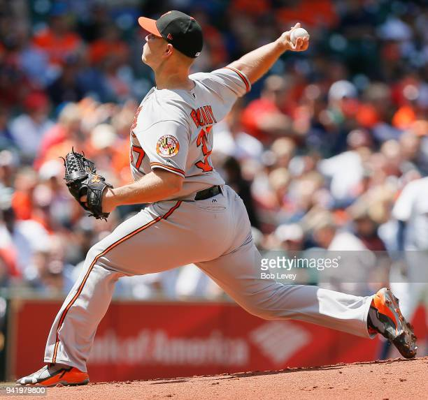 Dylan Bundy of the Baltimore Orioles pitches in the first inning against the Houston Astros at Minute Maid Park on April 4 2018 in Houston Texas
