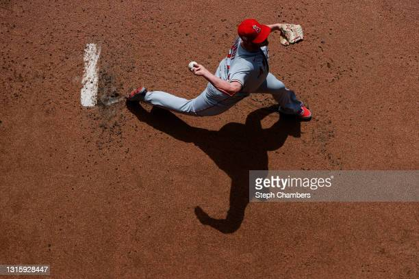 Dylan Bundy of the Los Angeles Angels warms up before the game against the Seattle Mariners at T-Mobile Park on May 02, 2021 in Seattle, Washington.