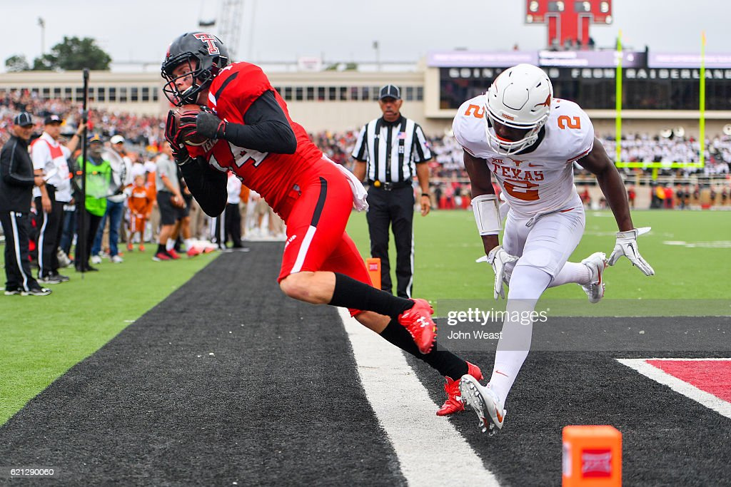 Dylan Cantrell #14 of the Texas Tech Red Raiders cannot stay inbounds to complete the catch during the game against the Texas Longhorns on November 5, 2016 at AT&T Jones Stadium in Lubbock, Texas. Texas defeated Texas Tech 45-37.