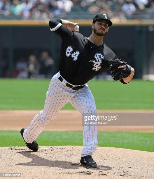 Dylan Cease of the Chicago White Sox delivers the ball in his Major League debut against the Detroit Tigers at Guaranteed Rate Field on July 03 2019...