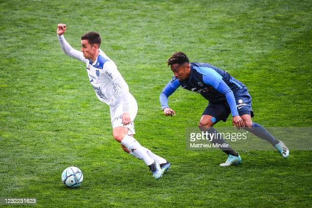 Dylan CHAMBOST of ESTAC Troyes and Lalaina NOMENJANAHARY of Paris FC during the Ligue 2 match between Paris FC and Troyes at Stade Charlety on April...