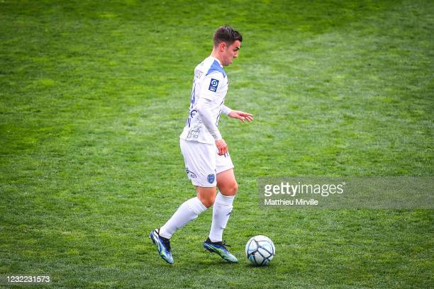 Dylan CHAMBOST of ESTAC Troyes during the Ligue 2 match between Paris FC and Troyes at Stade Charlety on April 10, 2021 in Paris, France.