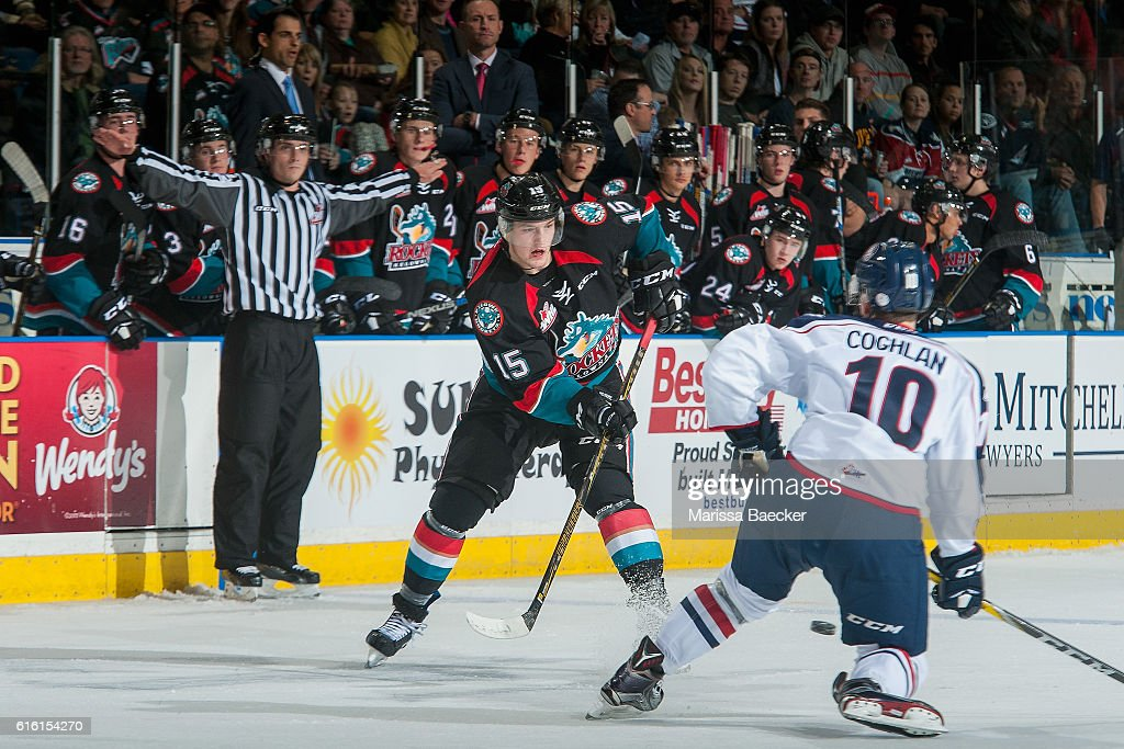 Dylan Coghlan #10 of the Tri-City Americans tries to block a pass by Tomas Soustal #15 of the Kelowna Rockets on October 21, 2016 at Prospera Place in Kelowna, British Columbia, Canada.