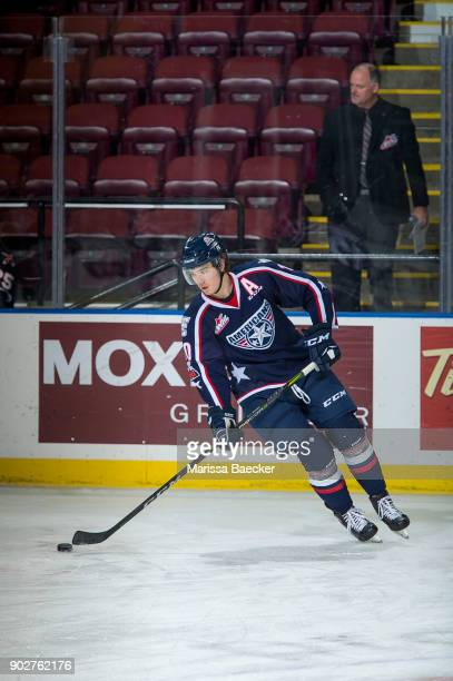 Dylan Coghlan of the TriCity Americans warms up with the puck against the Kelowna Rockets at Prospera Place on January 3 2017 in Kelowna Canada