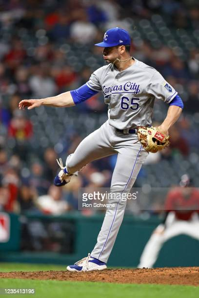 Dylan Coleman of the Kansas City Royals pitches against the Cleveland Indians during the seventh inning at Progressive Field on September 21, 2021 in...