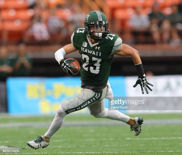 Dylan Collie of the Hawaii Rainbow Warriors runs after making a catch in the first quarter of the game against the Western Carolina Catamounts at...