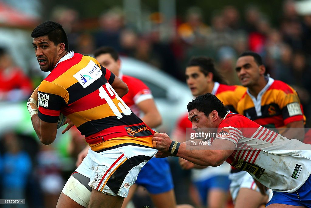 Dylan Collier of Waikato is tackled by Lennon Carrington of Horowhenua-Kapiti during the Ranfurly Shield match between Waikato and Horowhenua-Kapiti at the Morrinsville Domain on July 17, 2013 in Morrinsville, New Zealand.