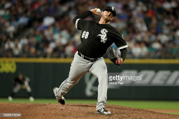 Dylan Covey of the Chicago White Sox pitches against the Seattle Mariners in the seventh inning during their game at Safeco Field on July 21 2018 in...