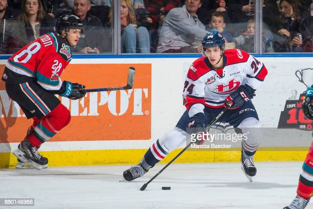 Dylan Cozens of the Lethbridge Hurricanes skates with the puck against the Kelowna Rockets at Prospera Place on November 17 2017 in Kelowna Canada