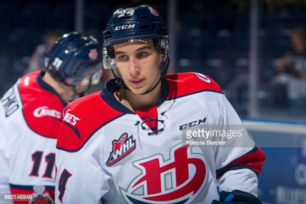 Dylan Cozens of the Lethbridge Hurricanes warms up against the Kelowna Rockets at Prospera Place on November 17 2017 in Kelowna Canada