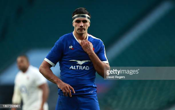 Dylan Cretin of France looks on during the Guinness Six Nations match between England and France at Twickenham Stadium on March 13, 2021 in London,...
