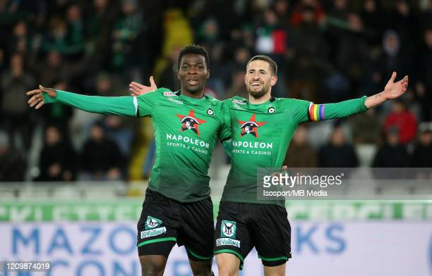 Dylan De Belder of Cercle celebrates after scoring a cancelled goal during the Jupiler Pro League match between Cercle Brugge and KAA Gent at Jan...