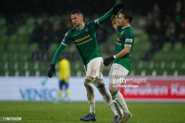 Dylan de Braal of FC Dordrecht, Pedro Marques of FC Dordrecht 1-1 during the Dutch Keuken Kampioen Divisie match between FC Dordrecht v SC Cambuur at...