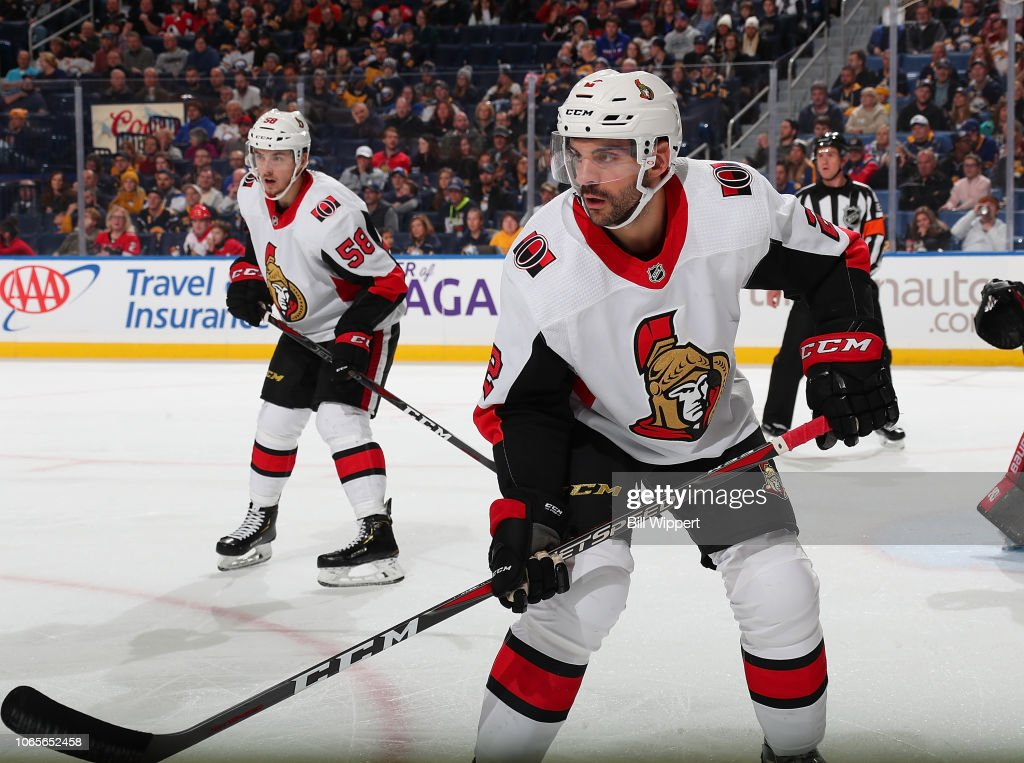 Dylan DeMelo of the Ottawa Senators skates against the Buffalo