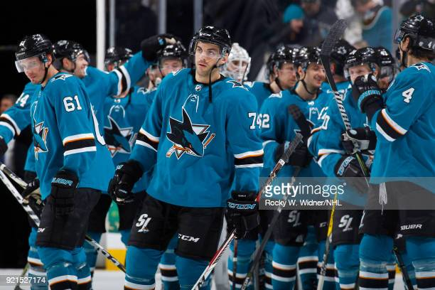 Dylan DeMelo of the San Jose Sharks look on after defeating the Vancouver Canucks at SAP Center on February 15 2018 in San Jose California