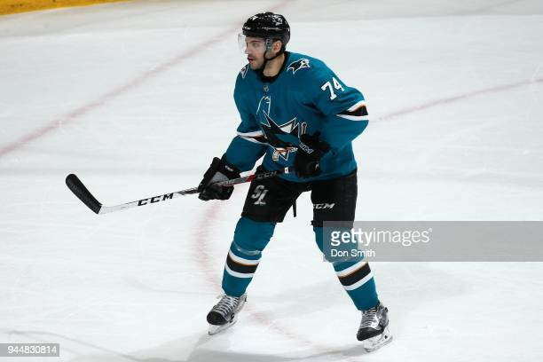 Dylan DeMelo of the San Jose Sharks looks on during a NHL game against the Minnesota Wild at SAP Center on April 7 2018 in San Jose California Dylan...