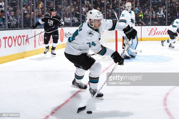 Dylan DeMelo of the San Jose Sharks passes the puck during a game against the Los Angeles Kings at STAPLES Center on January 15 2018 in Los Angeles...