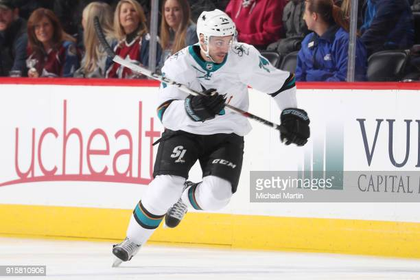 Dylan DeMelo of the San Jose Sharks skates against the Colorado Avalanche at the Pepsi Center on February 6 2018 in Denver Colorado The Avalanche...