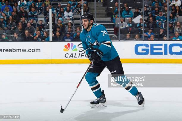 Dylan DeMelo of the San Jose Sharks skates against the Dallas Stars at SAP Center on February 18 2018 in San Jose California