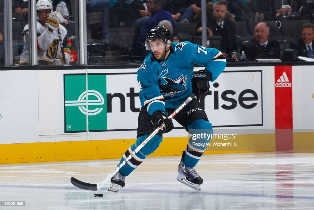 Dylan DeMelo #74 of the San Jose Sharks skates with the puck against the Vegas Golden Knights at SAP Center on September 21, 2017 in San Jose, California.