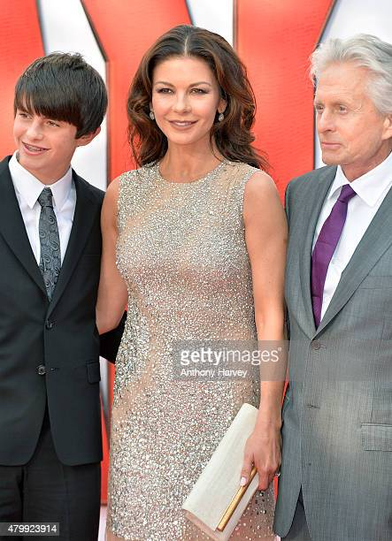 Dylan Douglas Catherine Zeta Jones and actor Michael Douglas attend the European Premiere of Marvel's AntMan at the Odeon Leicester Square on July 8...