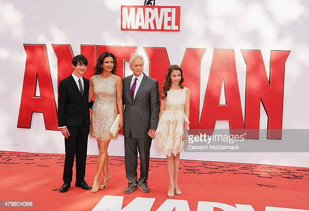 Dylan Douglas Catherine Zeta Jones Michael Douglas and Carys Douglas attend the European Premiere of Marvel's AntMan at Odeon Leicester Square on...