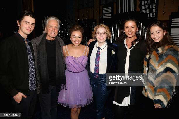 Dylan Douglas Michael Douglas Isabelle McCalla Caitlin Kinnunen Caterine Zeta Jones and Carys Douglas pose backstage at the hit new musical The Prom...