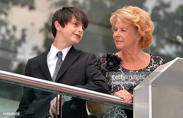Dylan Douglas with his grandmother and Catherine Zeta Jones mother Patricia Fair attend the European Premiere of Marvel's AntMan at the Odeon...
