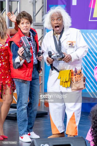 Dylan Dreyer as Marty McFly and Al Roker as Emmett Lathrop Doc Brown from Back to The Future during NBC Today Halloween 2018 show at Rockefeller...