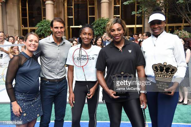 Dylan Dreyer Rafael Nadal Cori Coco Gauff Serena Williams and Venus Williams attend the 2019 Palace Invitational at Lotte New York Palace on August...